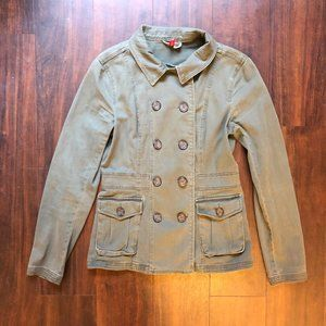 H&M Double Breasted Button Jacket (4; army green)